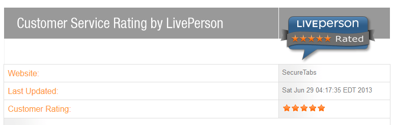 Live Person Rating for My Secure Tabs